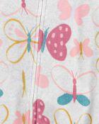 Pyjama 1 pièce sans pieds en molleton avec papillon, , hi-res