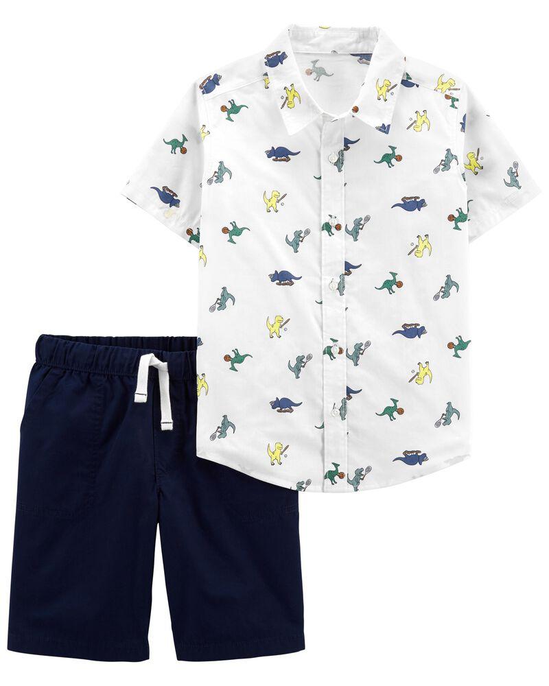 2-Piece Dinosaur Button-Front Shirt & Short Set, , hi-res