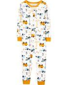 Pyjama 1 pièce sans pieds en coton ajusté motif construction, , hi-res