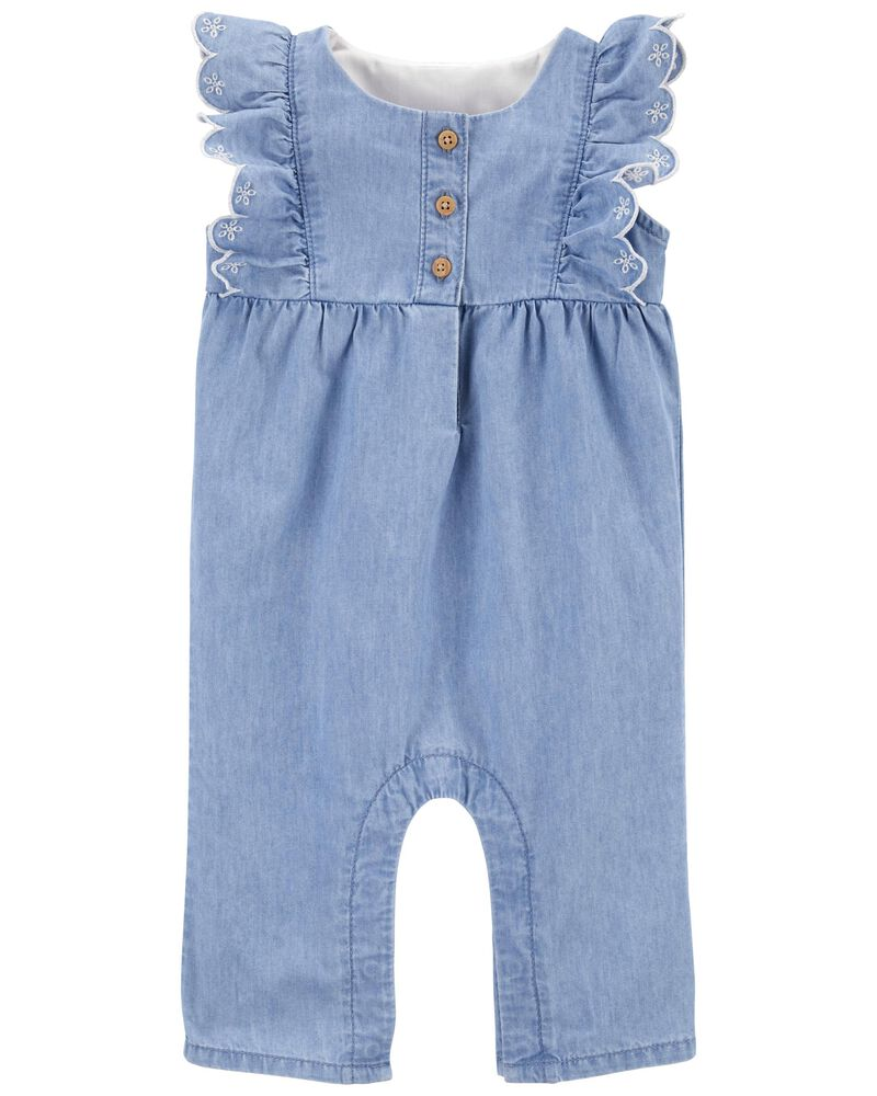 Ruffle Chambray Jumpsuit in Olympia Wash, , hi-res