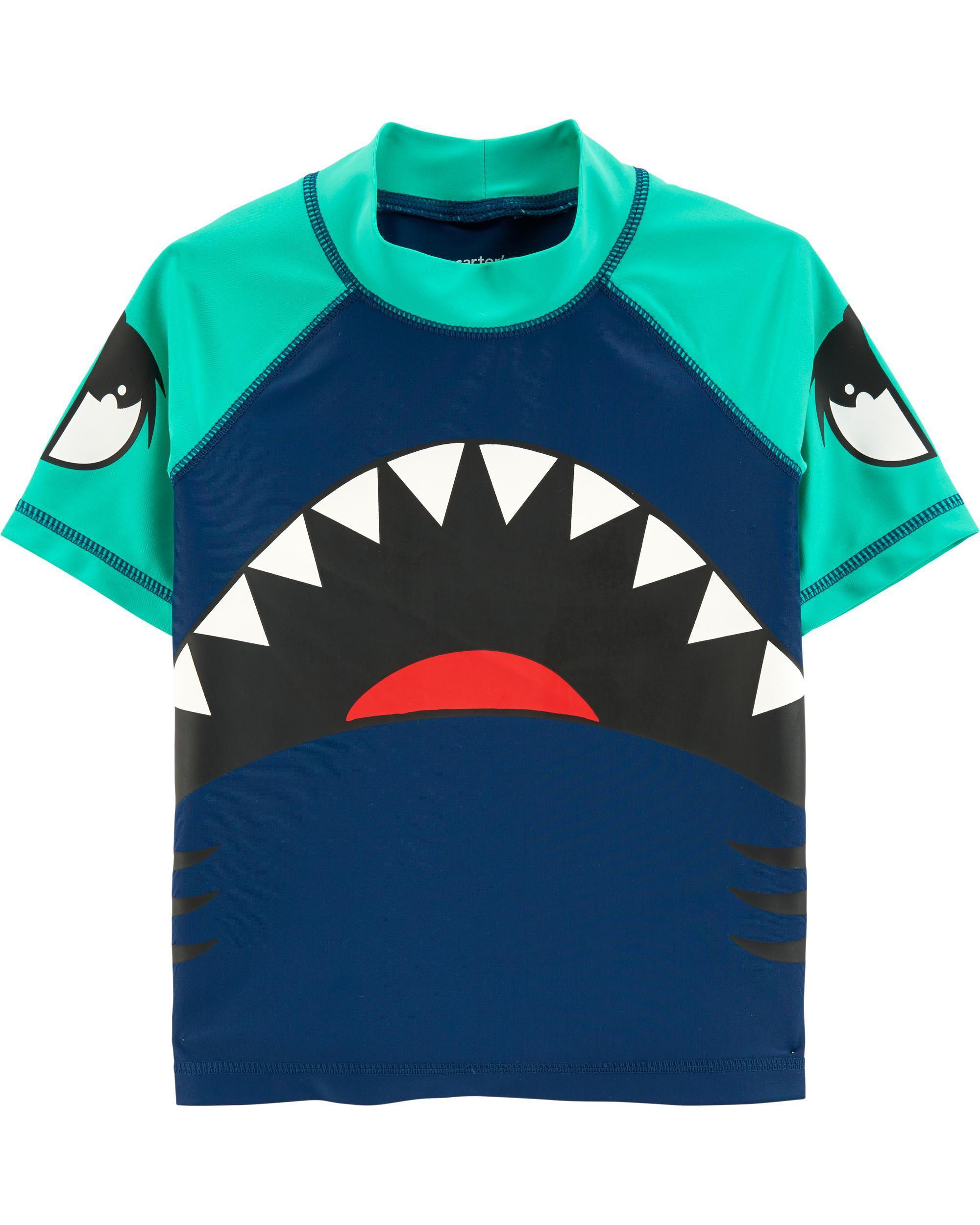 Child of Mine by Carters Long Sleeve Rash Guard 2-Piece Swim Set Blue Sharks
