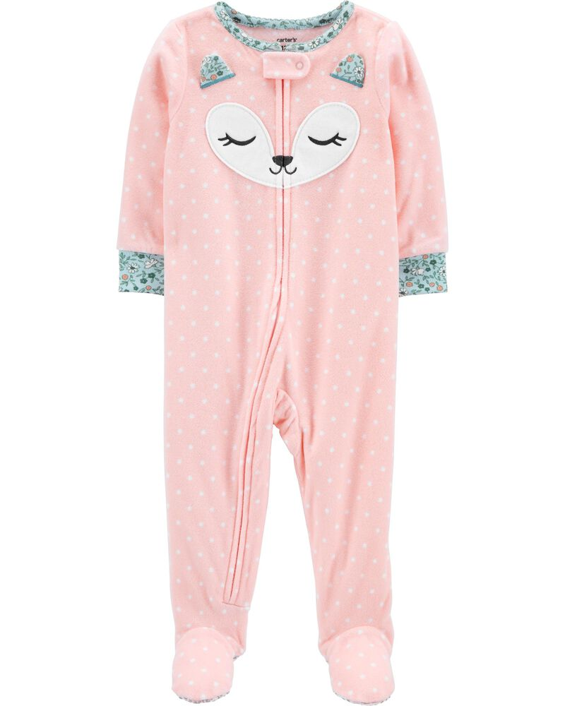 1-Piece Fox Fleece Footie PJs, , hi-res