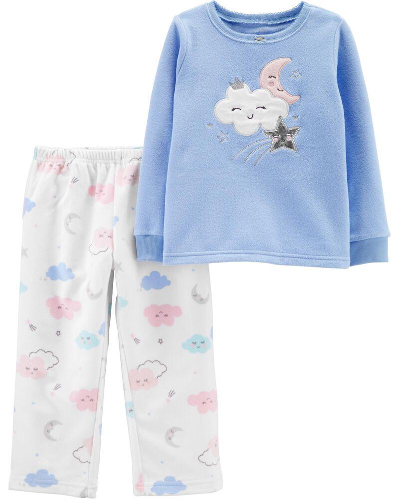 Pyjama 2 pièces en molleton et coton ajusté à motif de nuage, , hi-res