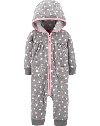 Polka Dot Fleece Jumpsuit