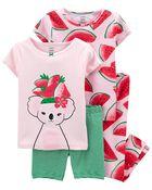 Pyjama 4 pièces en coton ajusté motif à koala, , hi-res
