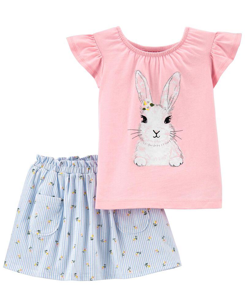 2-Piece Bunny Jersey Tee & Skort Set, , hi-res