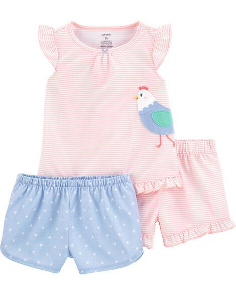 Pyjama 3 pièces en polyester motif de poulet
