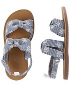 Striped Knot Bow Sandals, , hi-res