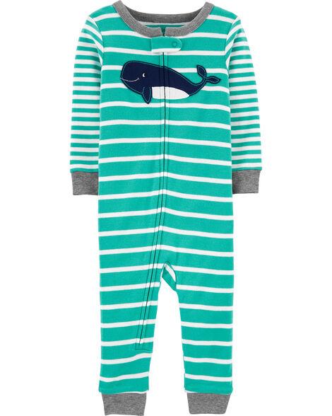 Pyjama 1 pièce sans pieds en coton ajusté à baleine