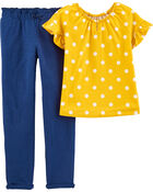 2-Piece Polka Dot Top & Slub Jersey Pant Set, , hi-res