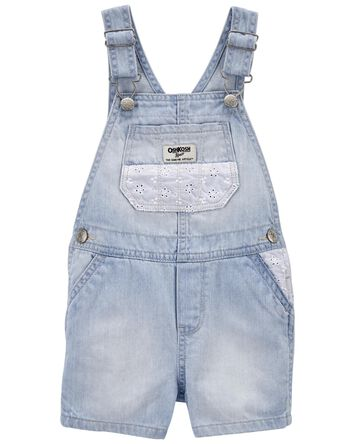 Eyelet Denim Shortalls in Pastel Wa...
