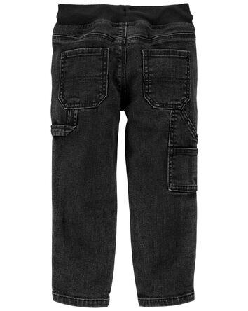 Jeans de menuisier à délavage noir