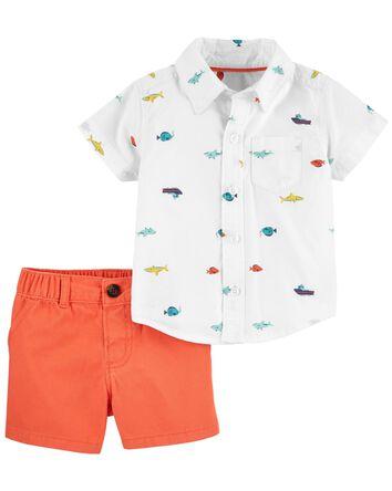 2-Piece Nautical Button-Front Shirt...