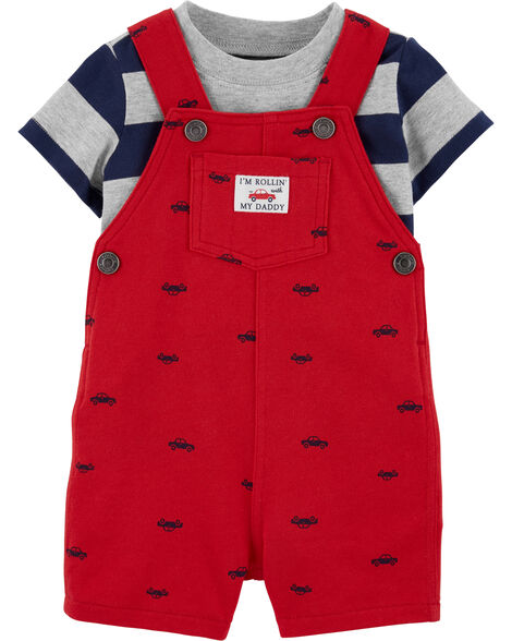 2-Piece Striped Tee & Car Shortalls Set