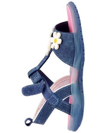 Chambray Light-Up Sandals