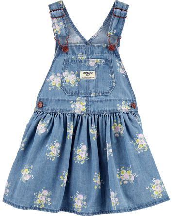 Robe chasuble en denim fleuri