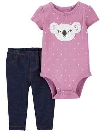 2-Piece Koala Bodysuit Pant Set
