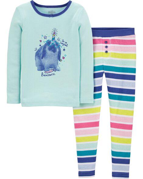Pyjama 2 pièces en coton ajusté lapin licorne
