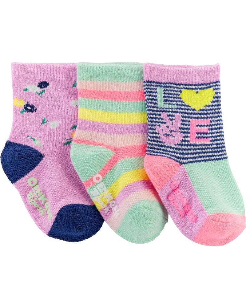 3-Pack Love Crew Socks, , hi-res