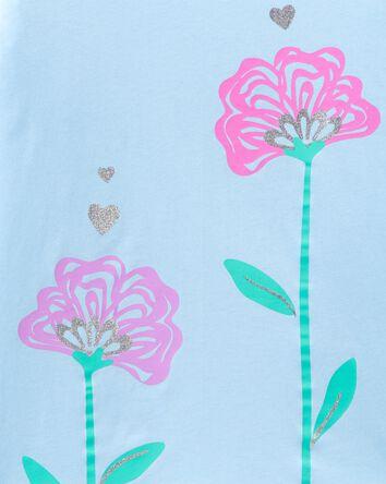 T-shirt en jersey à fleurs scintill...