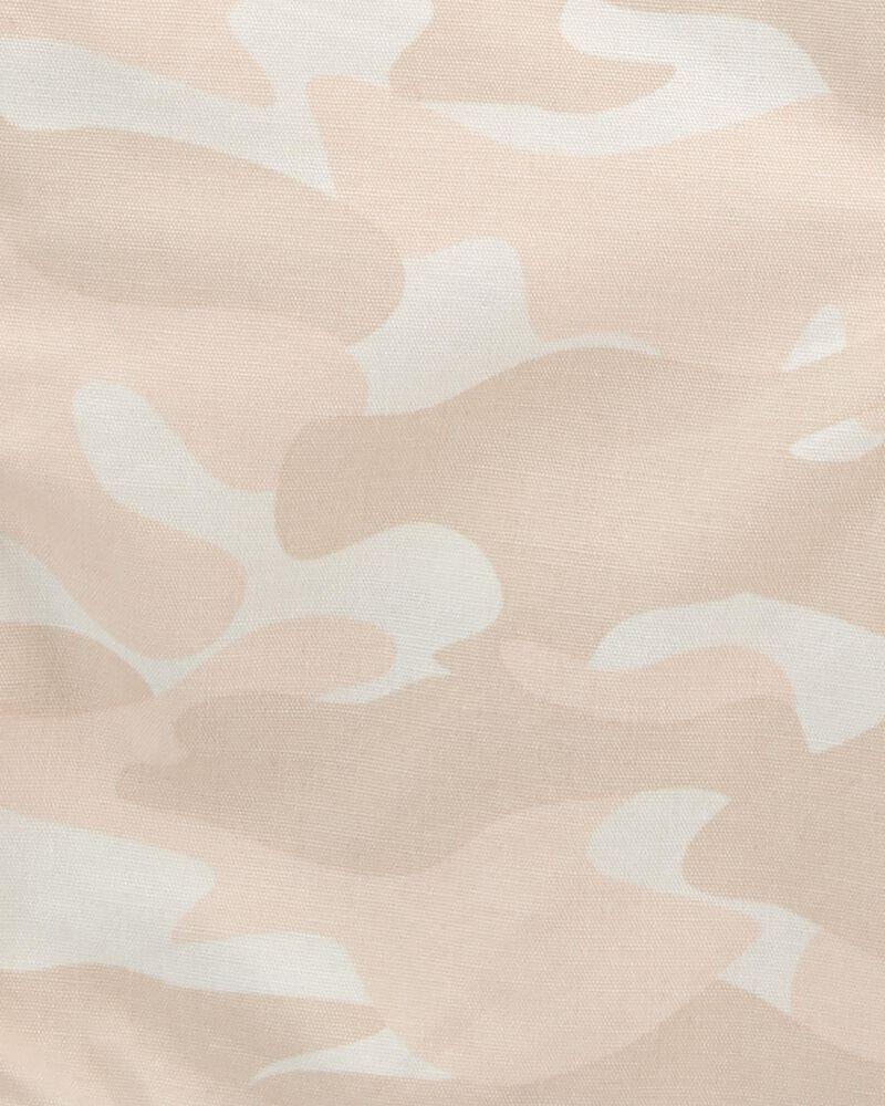 Salopette courte en toile à imprimé camouflage, , hi-res