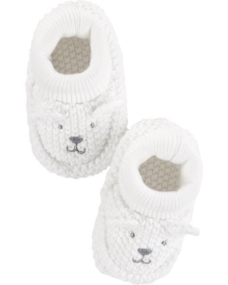 Bear Knit Baby Booties