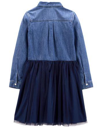 Denim & Tulle Dress in Mosaic Blue