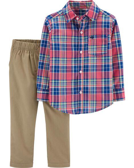 2-Piece Plaid Button-Front Shirt & Khaki Pant