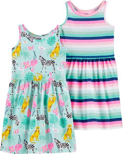 Emballage de 2 robes tropicales en jersey