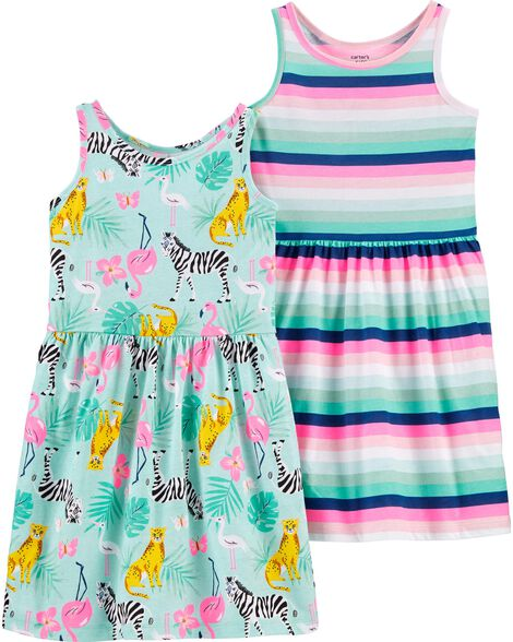 2-Pack Tropical Jersey Dresses