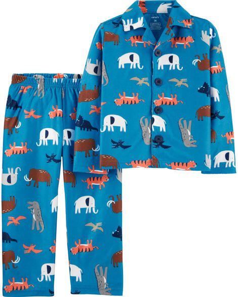 2-Piece Animal Coat Style Fleece PJs