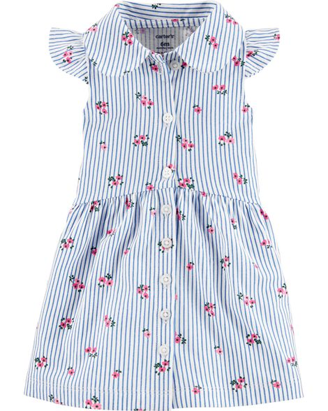 Striped Floral Button-Front Shirt Dress