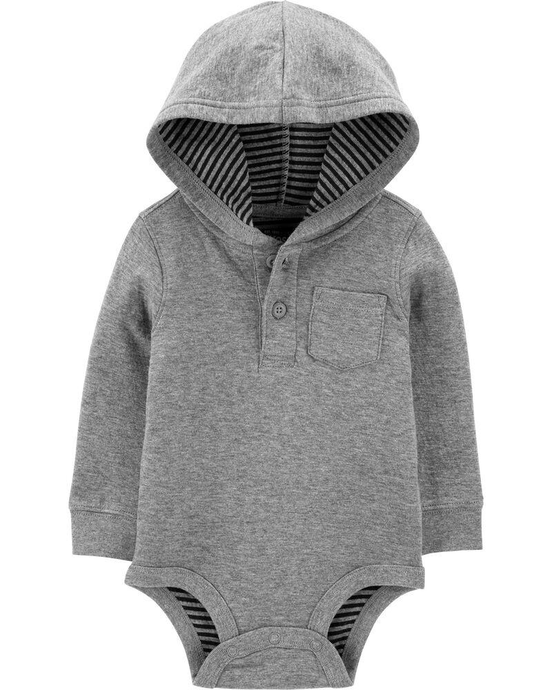 Double Knit Hooded Henley Bodysuit, , hi-res