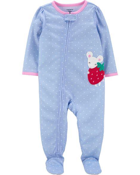 Pyjama 1 pièce en polyester à pieds motif fraise et souris