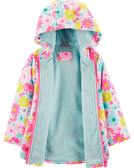 Fleece-Lined Flower Print Rain Jacket