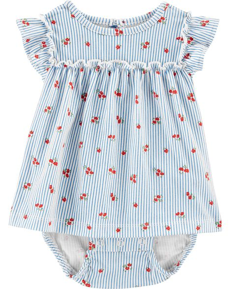 Striped Floral Jersey Sunsuit