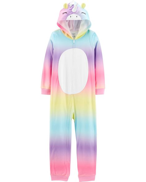 1-Piece Unicorn Hooded Fleece Footless PJs