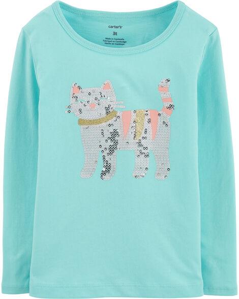 T-shirt en jersey à chat scintillant
