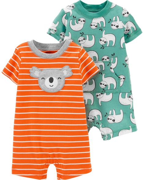 2-Pack Sloth & Koala Rompers