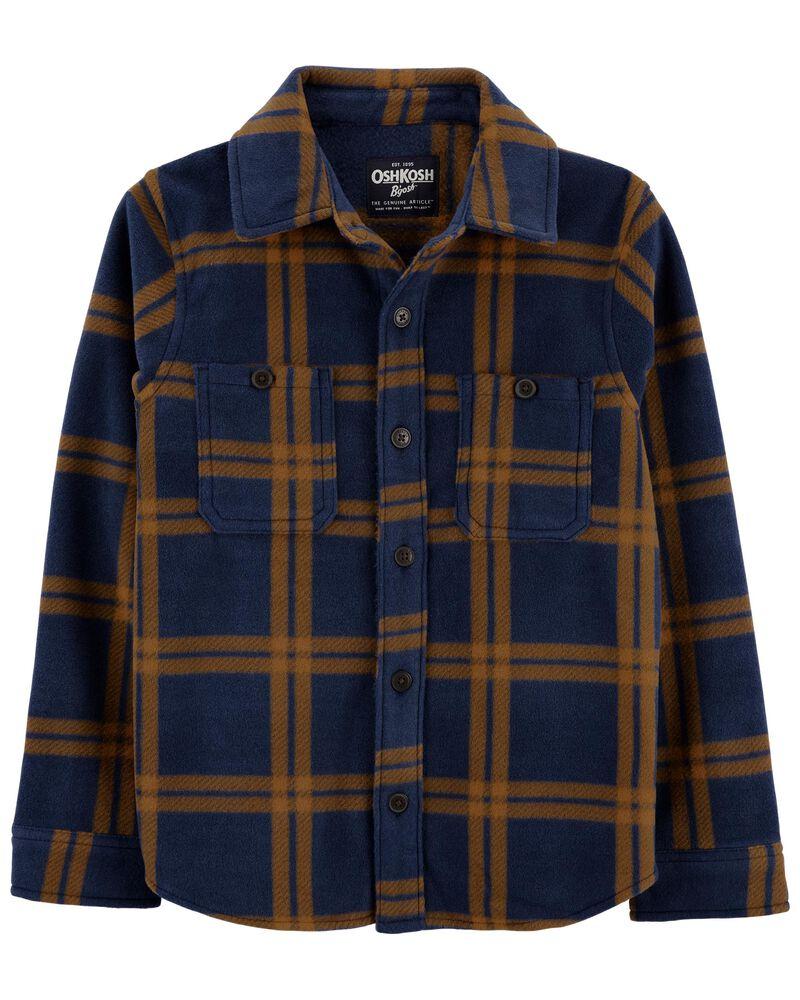 Blouson chemise en molleton à motif écossais, , hi-res