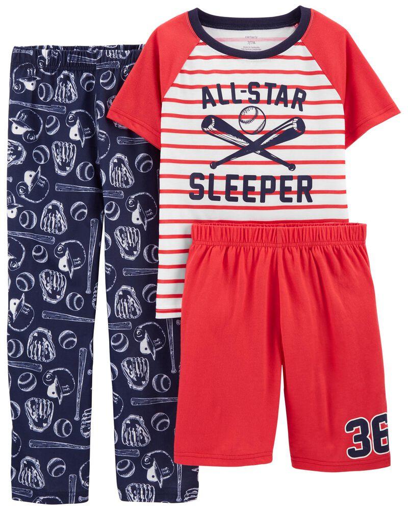 Pyjamas 3 pièces de coupe ample baseball, , hi-res