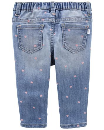 Heart Print Knit Denim Jeans — Skin...