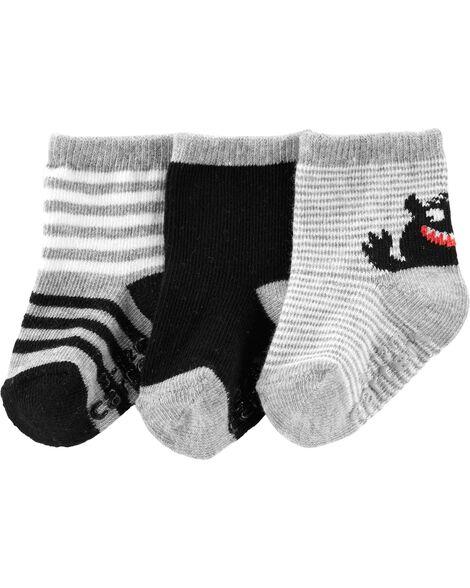 3 paires de chaussettes mi-mollet à monstre