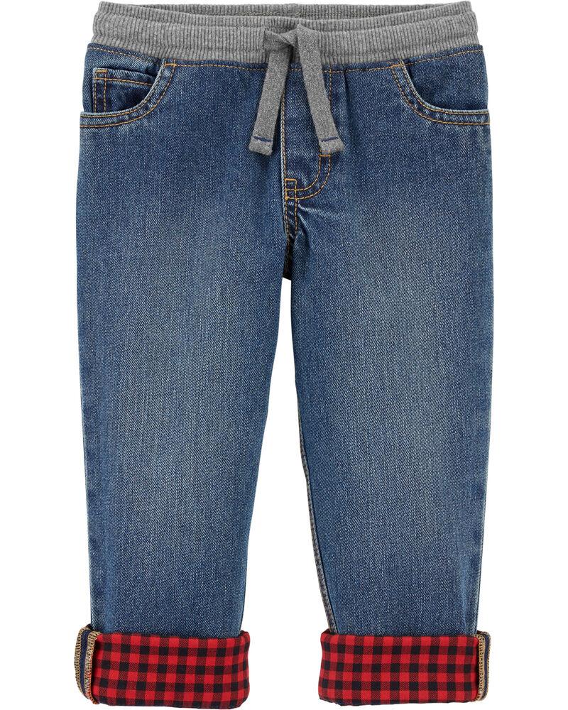 Pantalon en denim doublé de flanelle, , hi-res