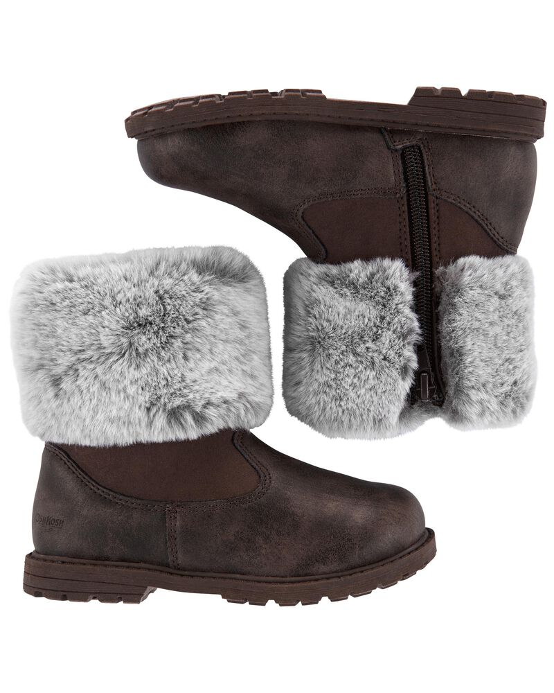 Furry Collar Boots, , hi-res