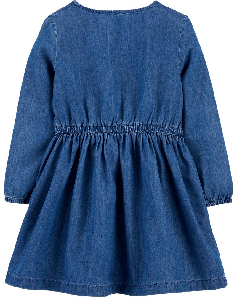Embroidered Denim Dress, , hi-res