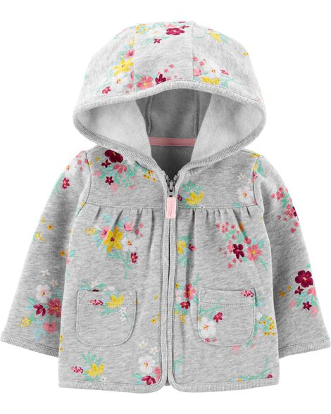 Floral Zip-Up Fleece Cardigan