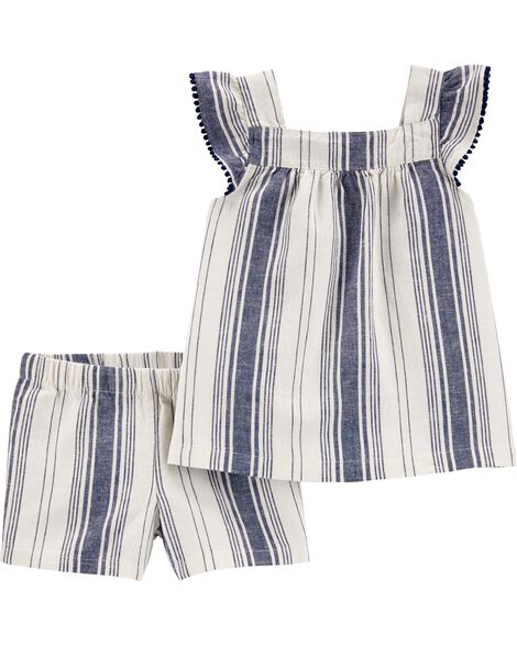 2-Piece Striped Linen Tank & Short Set