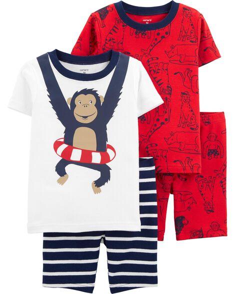 Pyjama 4 pièces en coton ajusté singe motif singes