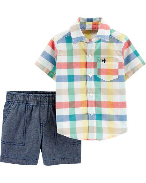 Ensemble 2 pièces chemise boutonnée à motif écossais et short en chambray